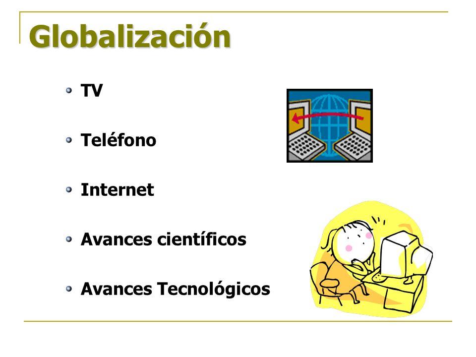 Globalización TV Teléfono Internet Avances científicos