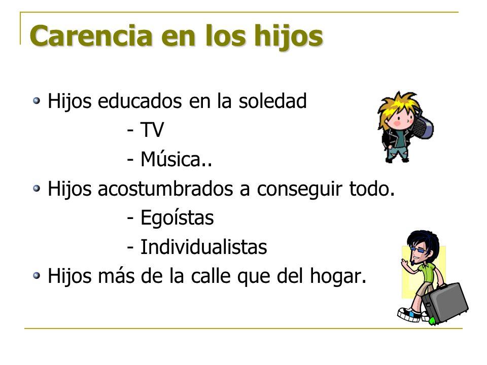 Carencia en los hijos Hijos educados en la soledad - TV - Música..