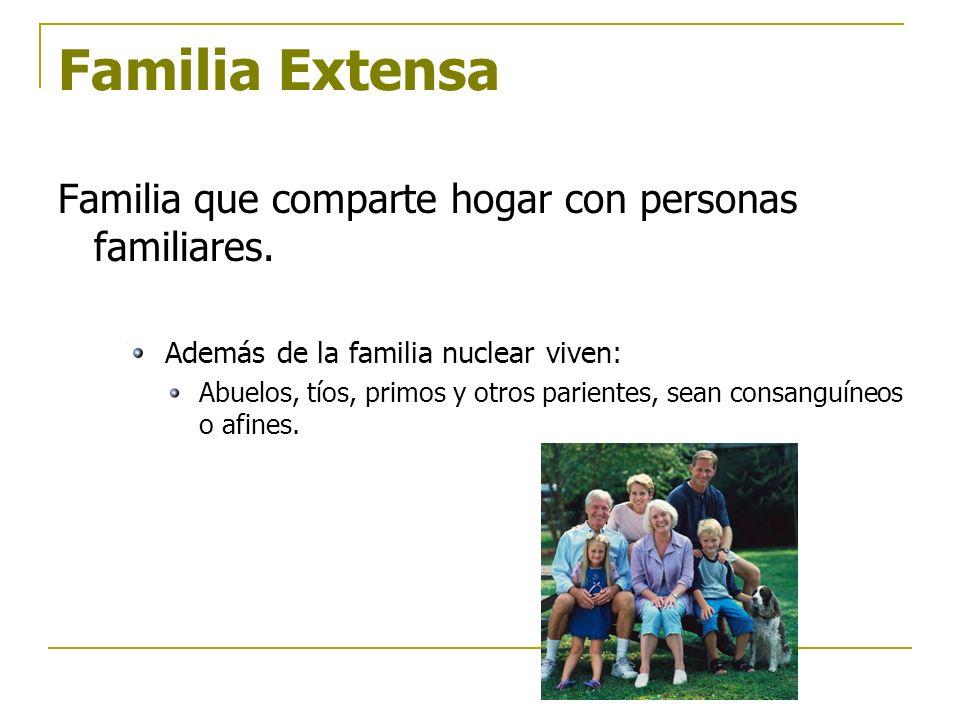 Familia Extensa Familia que comparte hogar con personas familiares.