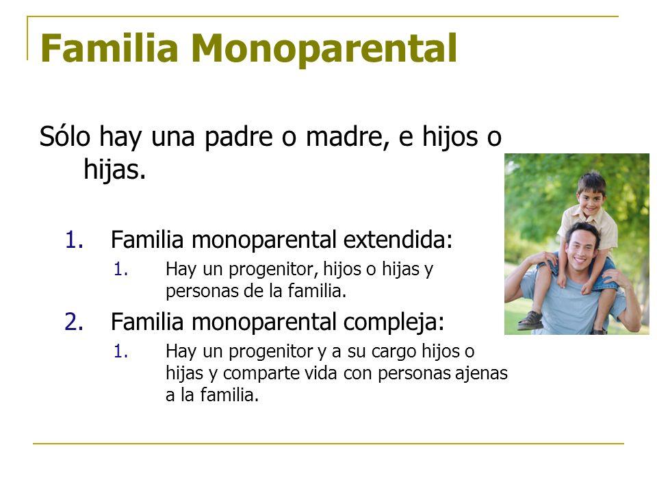 Familia Monoparental Sólo hay una padre o madre, e hijos o hijas.