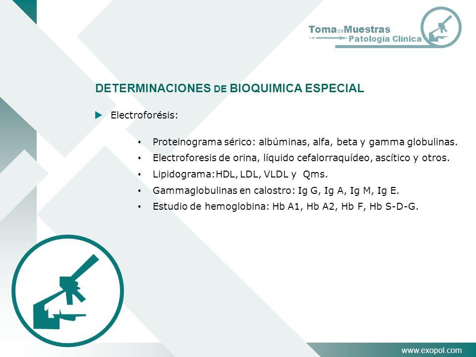 DETERMINACIONES DE BIOQUIMICA ESPECIAL