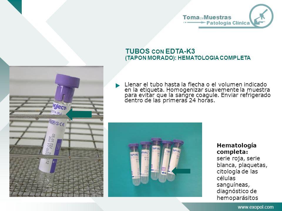 TUBOS CON EDTA-K3 (TAPON MORADO): HEMATOLOGIA COMPLETA