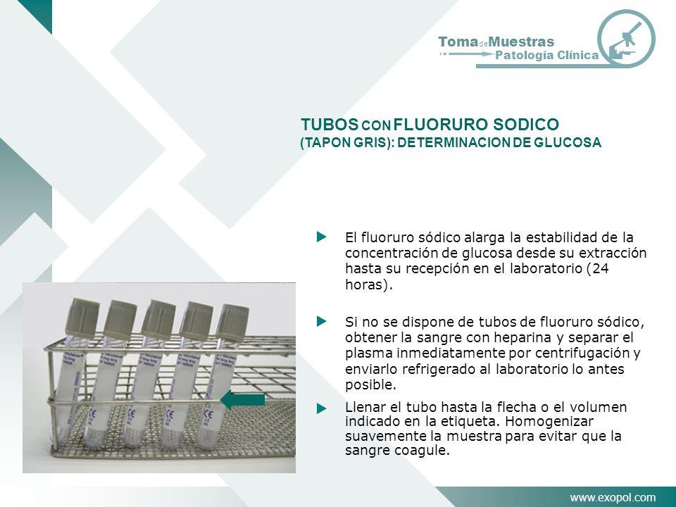 TUBOS CON FLUORURO SODICO (TAPON GRIS): DETERMINACION DE GLUCOSA