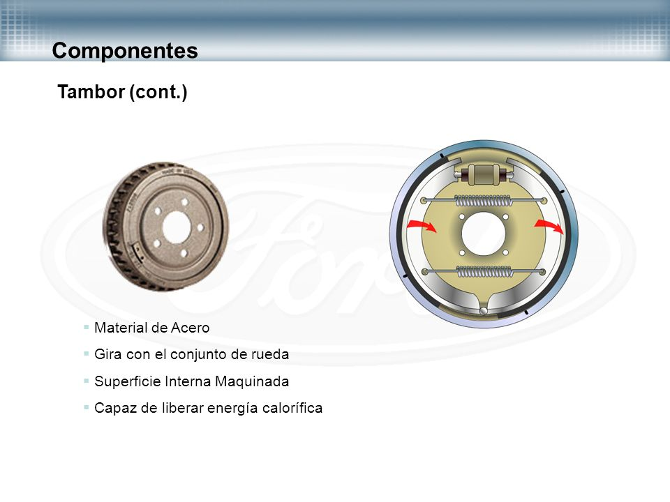 Componentes Tambor (cont.) Material de Acero