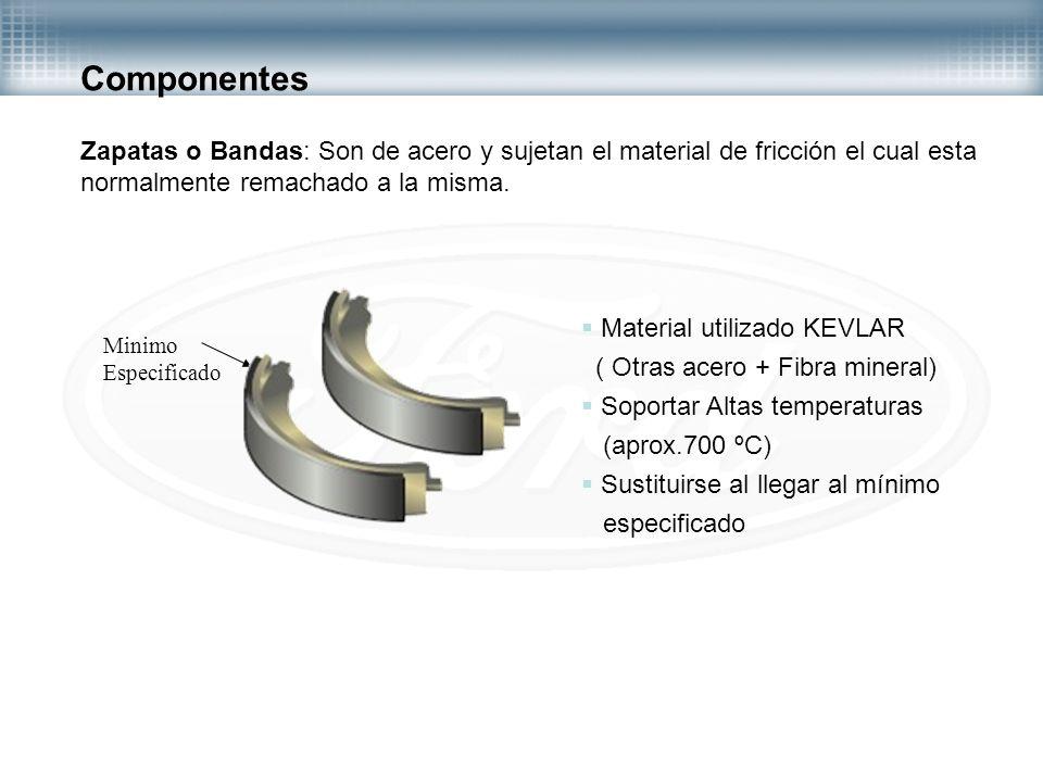 Componentes Zapatas o Bandas: Son de acero y sujetan el material de fricción el cual esta. normalmente remachado a la misma.