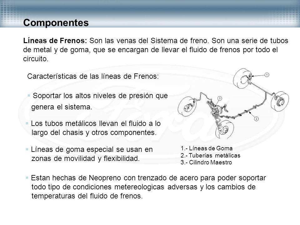 Componentes Líneas de Frenos: Son las venas del Sistema de freno. Son una serie de tubos.