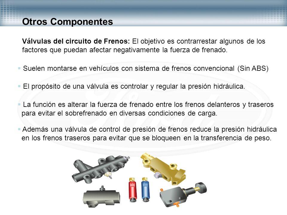 Otros Componentes Válvulas del circuito de Frenos: El objetivo es contrarrestar algunos de los.