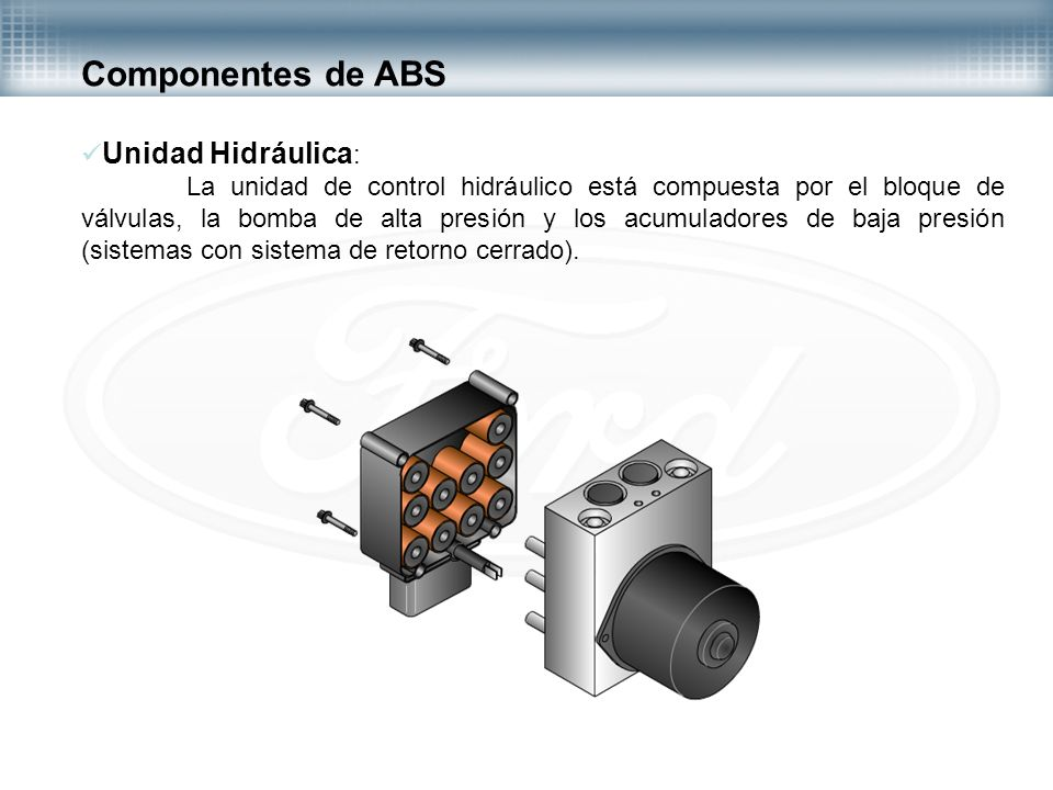 Componentes de ABS Unidad Hidráulica: