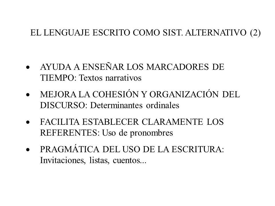 EL LENGUAJE ESCRITO COMO SIST. ALTERNATIVO (2)