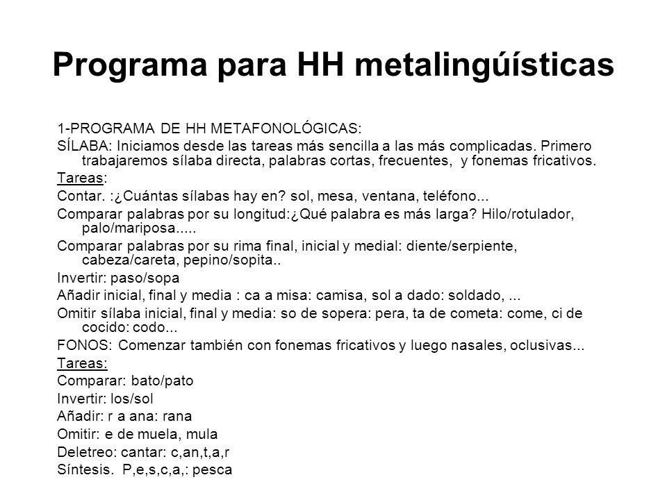 Programa para HH metalingúísticas