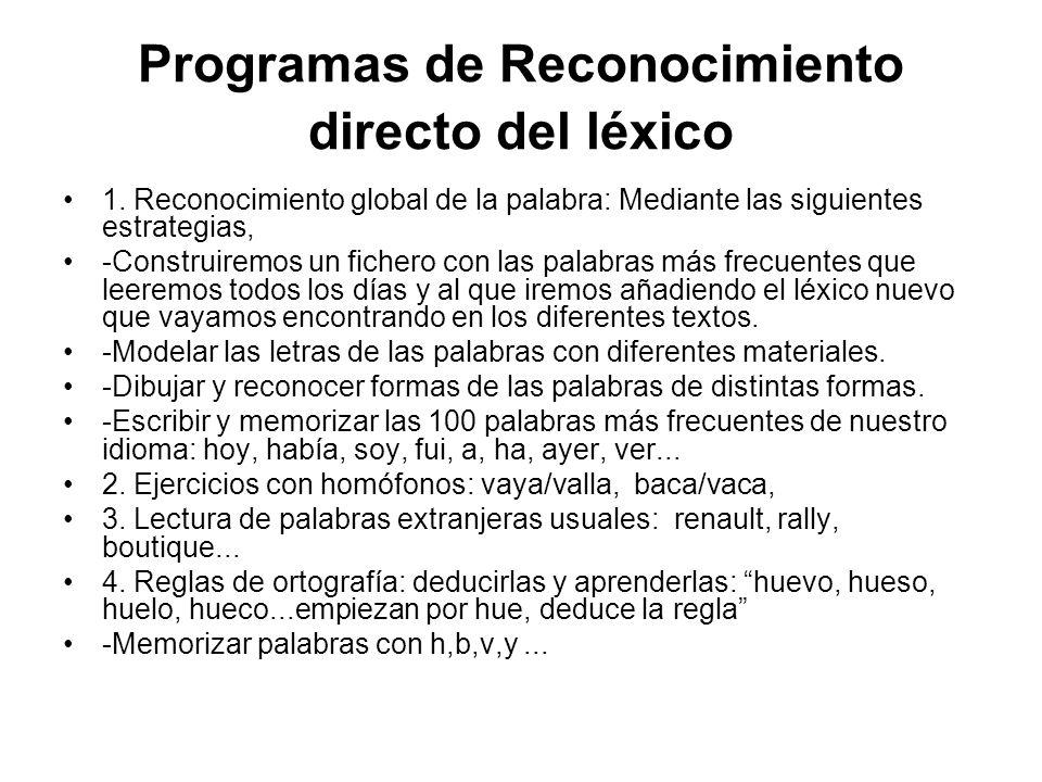 Programas de Reconocimiento directo del léxico