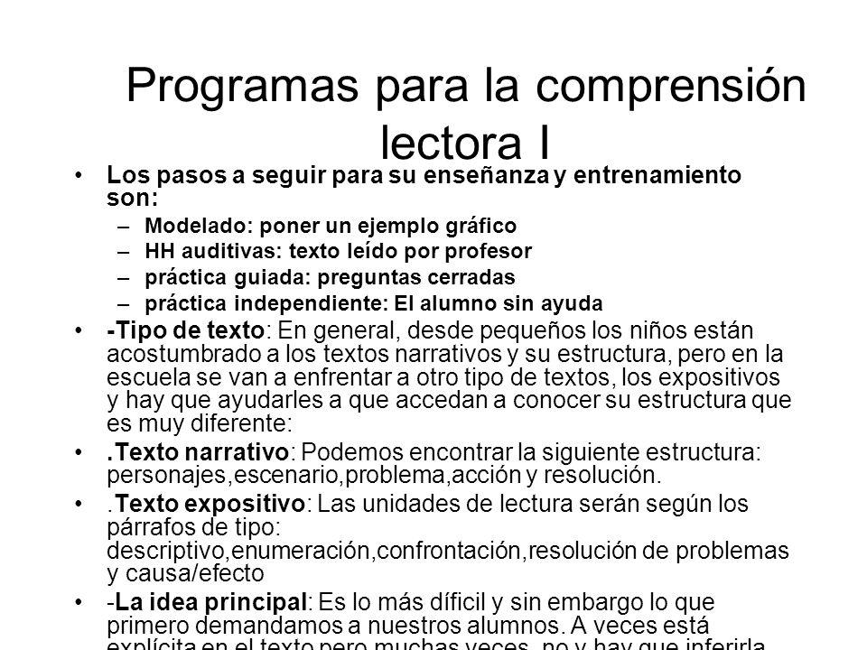 Programas para la comprensión lectora I