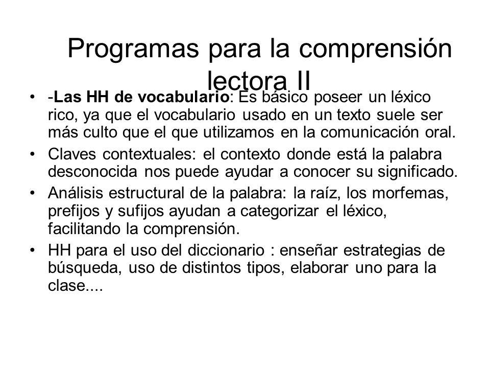 Programas para la comprensión lectora II