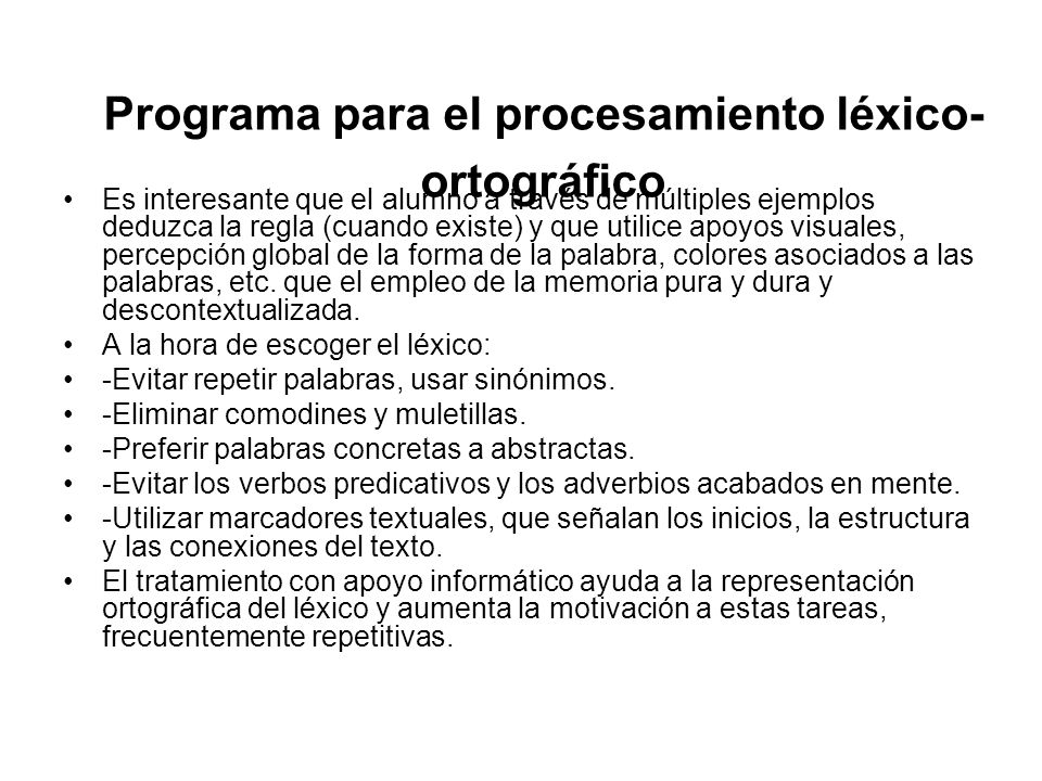 Programa para el procesamiento léxico-ortográfico