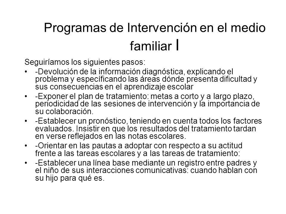 Programas de Intervención en el medio familiar I