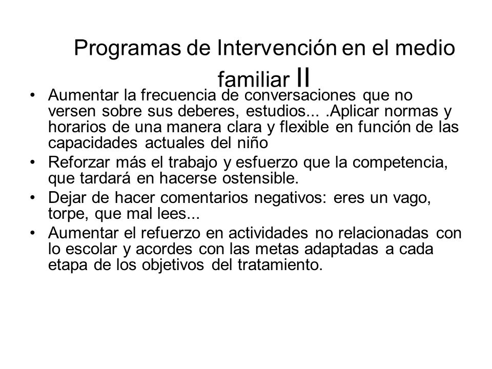 Programas de Intervención en el medio familiar II