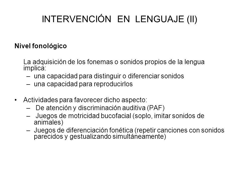 INTERVENCIÓN EN LENGUAJE (II)