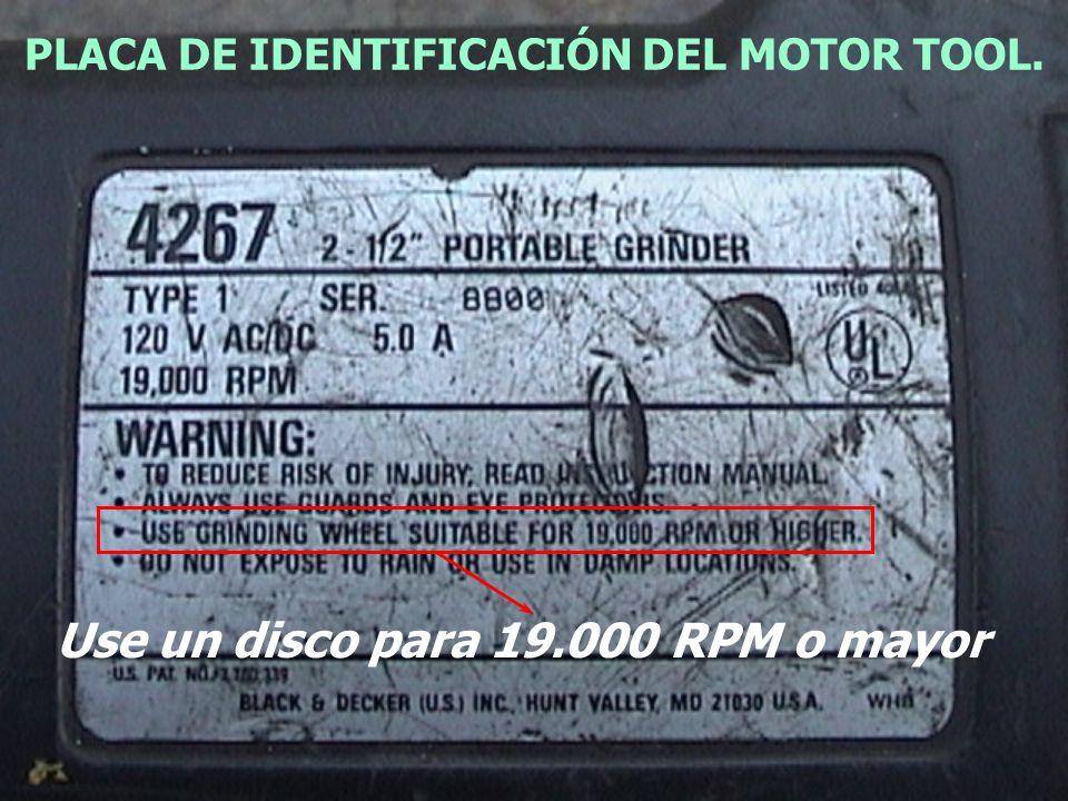PLACA DE IDENTIFICACIÓN DEL MOTOR TOOL.
