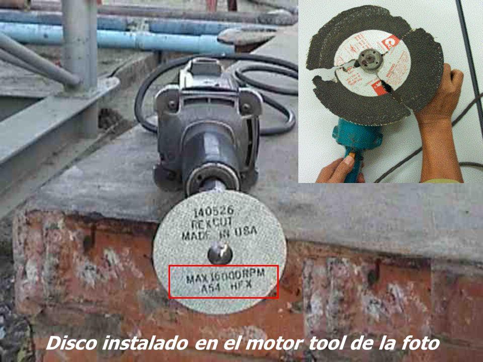 Disco instalado en el motor tool de la foto