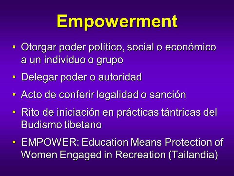 Empowerment Otorgar poder político, social o económico a un individuo o grupo. Delegar poder o autoridad.