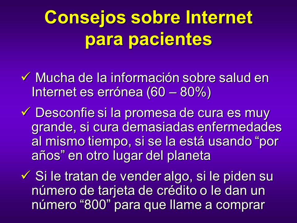 Consejos sobre Internet para pacientes