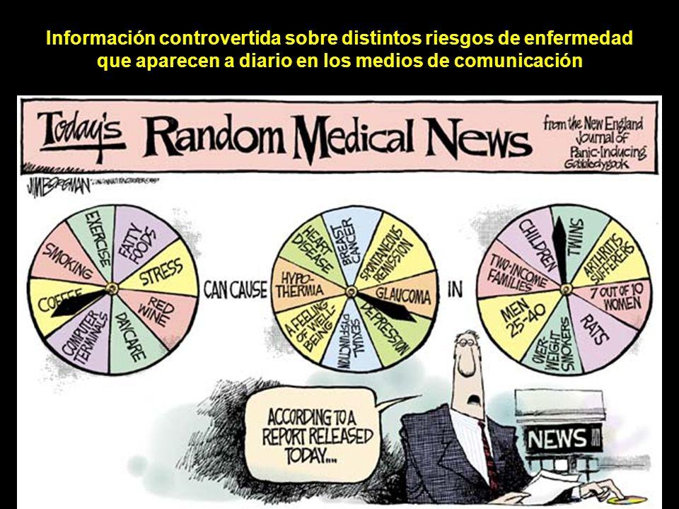 Información controvertida sobre distintos riesgos de enfermedad que aparecen a diario en los medios de comunicación