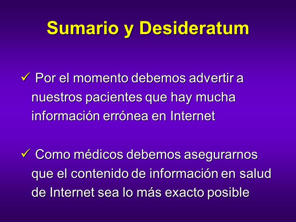Sumario y DesideratumPor el momento debemos advertir a nuestros pacientes que hay mucha información errónea en Internet.