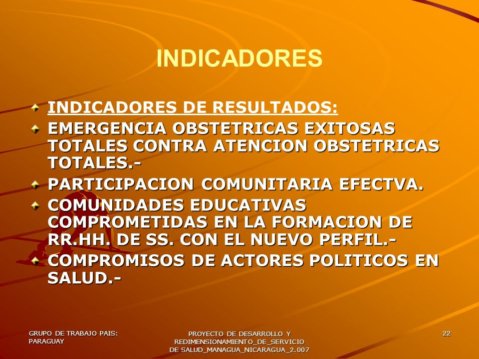 INDICADORES INDICADORES DE RESULTADOS: