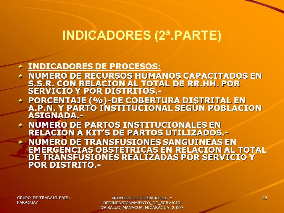 INDICADORES (2ª.PARTE) INDICADORES DE PROCESOS: