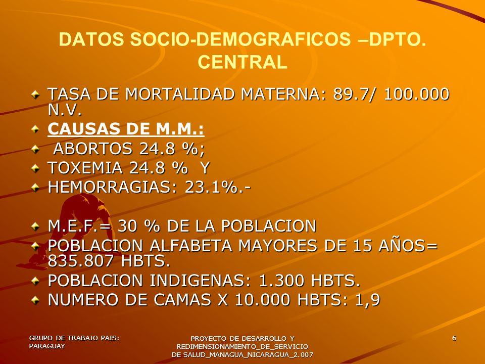 DATOS SOCIO-DEMOGRAFICOS –DPTO. CENTRAL