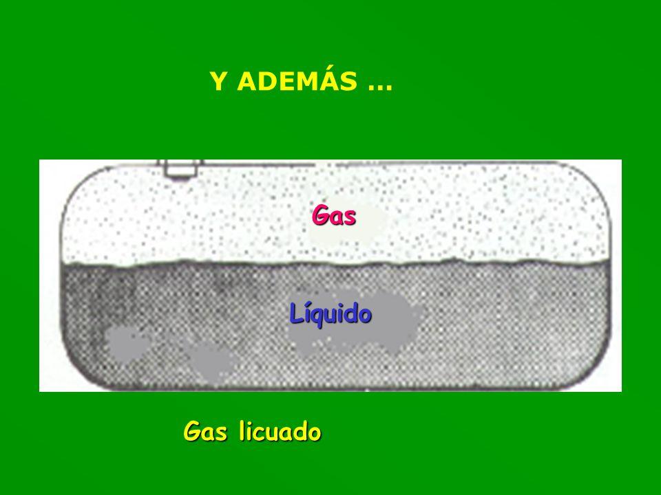 Y ADEMÁS … Líquido Gas Gas licuado