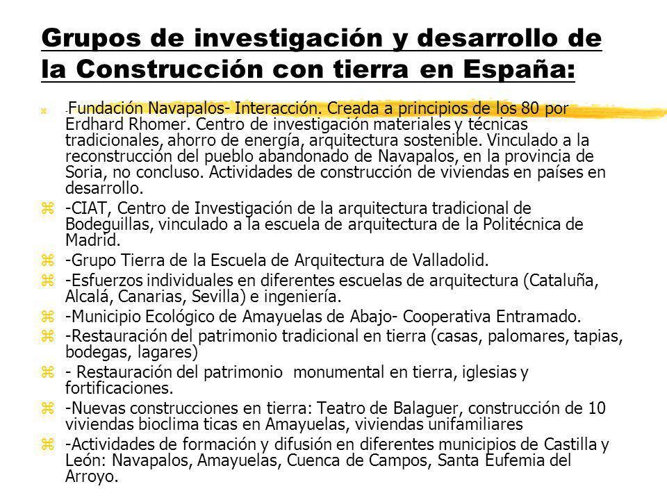 Grupos de investigación y desarrollo de la Construcción con tierra en España: