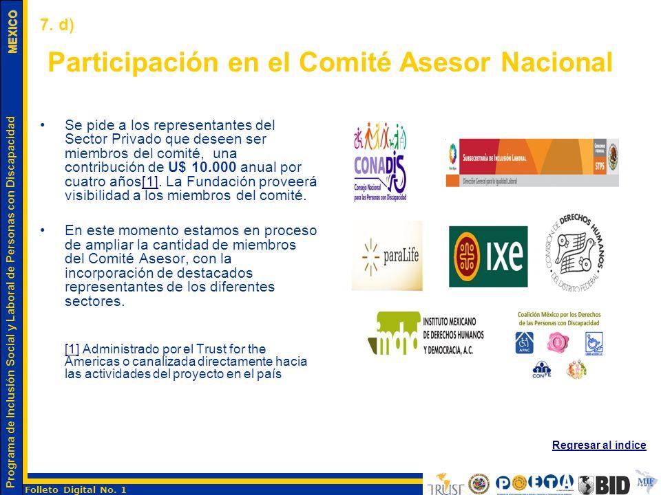 Participación en el Comité Asesor Nacional