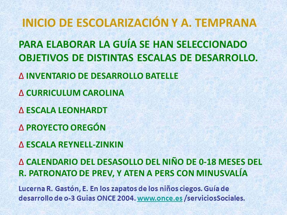 INICIO DE ESCOLARIZACIÓN Y A. TEMPRANA