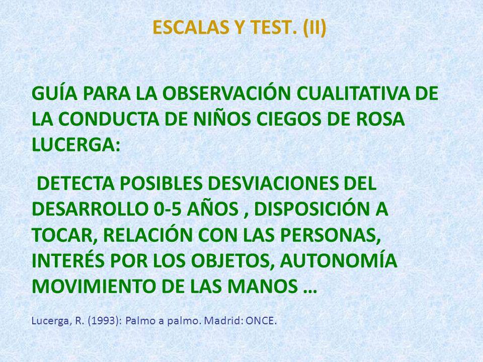 ESCALAS Y TEST. (II) GUÍA PARA LA OBSERVACIÓN CUALITATIVA DE LA CONDUCTA DE NIÑOS CIEGOS DE ROSA LUCERGA: