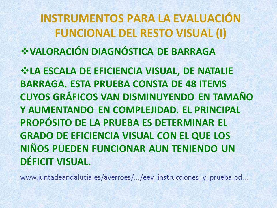 INSTRUMENTOS PARA LA EVALUACIÓN FUNCIONAL DEL RESTO VISUAL (I)