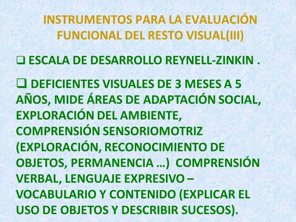 INSTRUMENTOS PARA LA EVALUACIÓN FUNCIONAL DEL RESTO VISUAL(III)