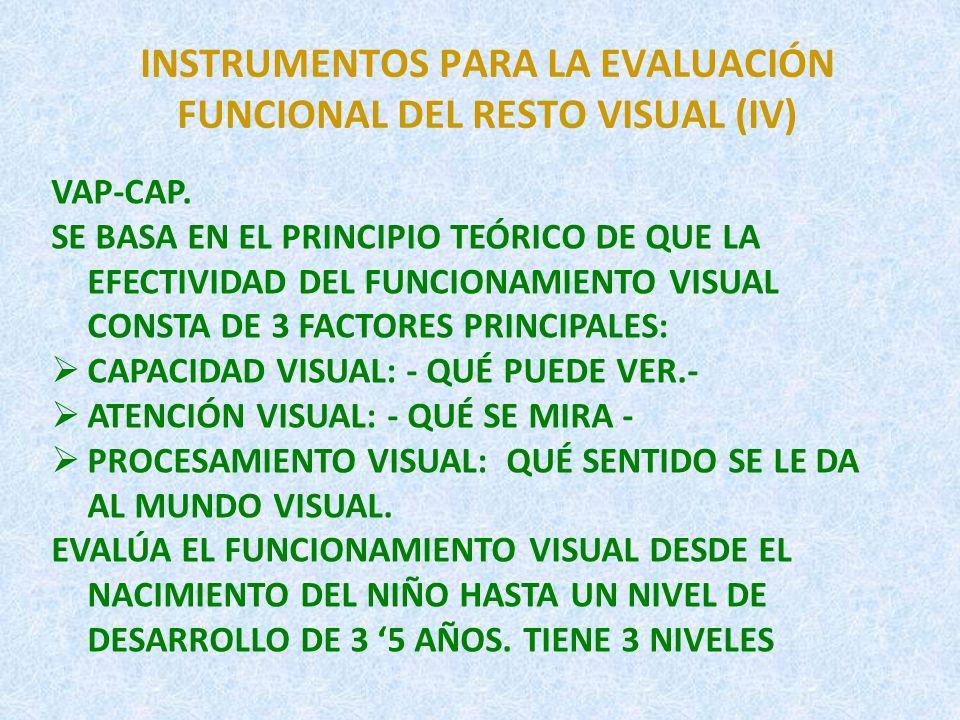 INSTRUMENTOS PARA LA EVALUACIÓN FUNCIONAL DEL RESTO VISUAL (IV)