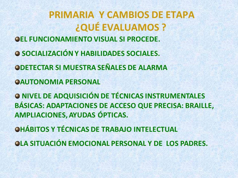 PRIMARIA Y CAMBIOS DE ETAPA ¿QUÉ EVALUAMOS