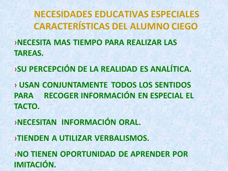 NECESIDADES EDUCATIVAS ESPECIALES CARACTERÍSTICAS DEL ALUMNO CIEGO