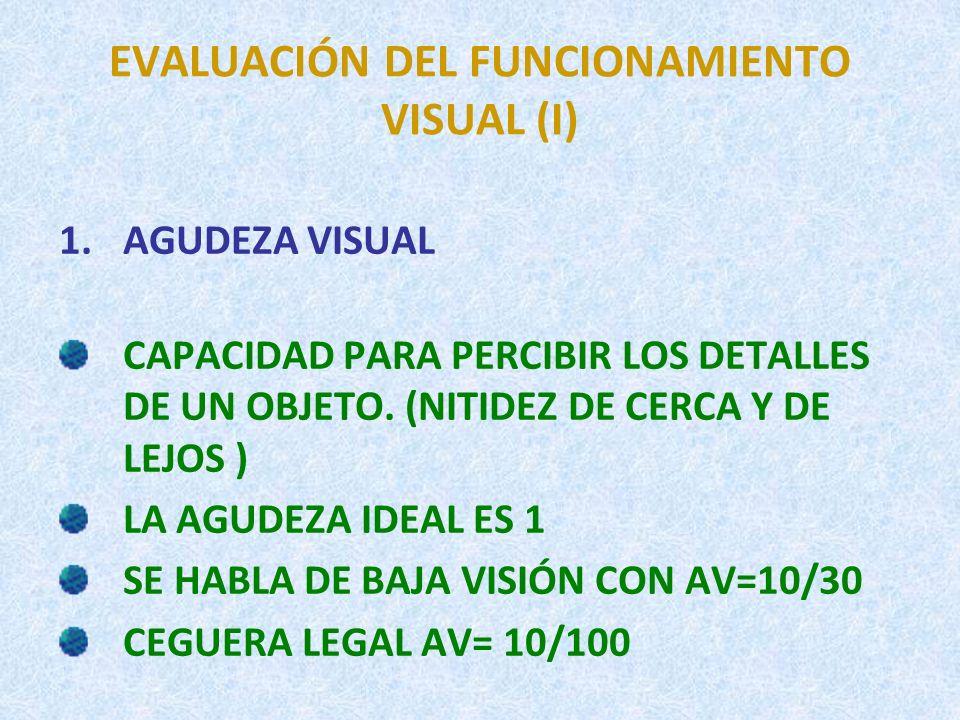 EVALUACIÓN DEL FUNCIONAMIENTO VISUAL (I)