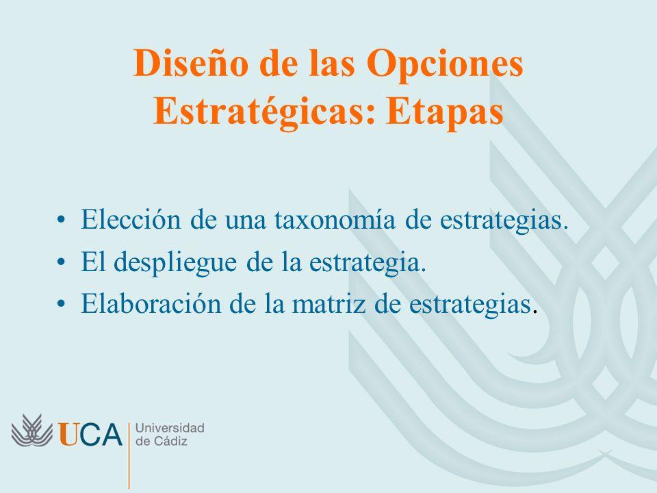 Diseño de las Opciones Estratégicas: Etapas