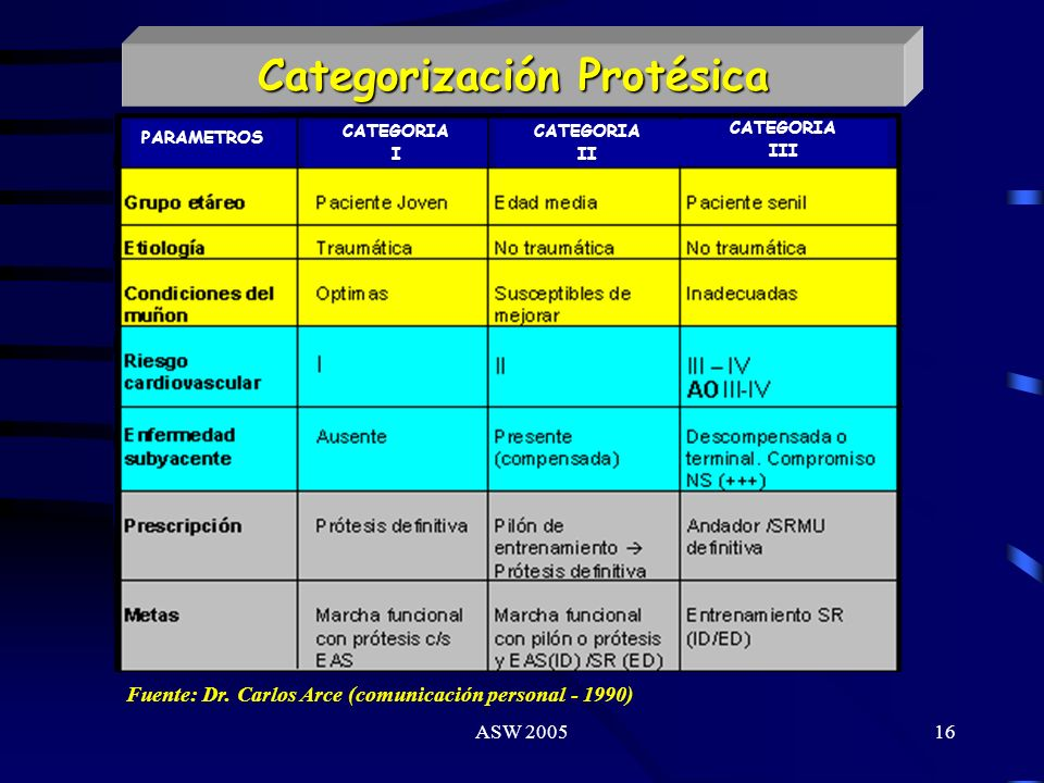 Categorización Protésica