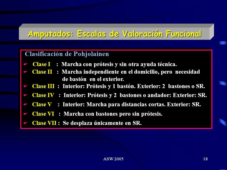 Amputados: Escalas de Valoración Funcional