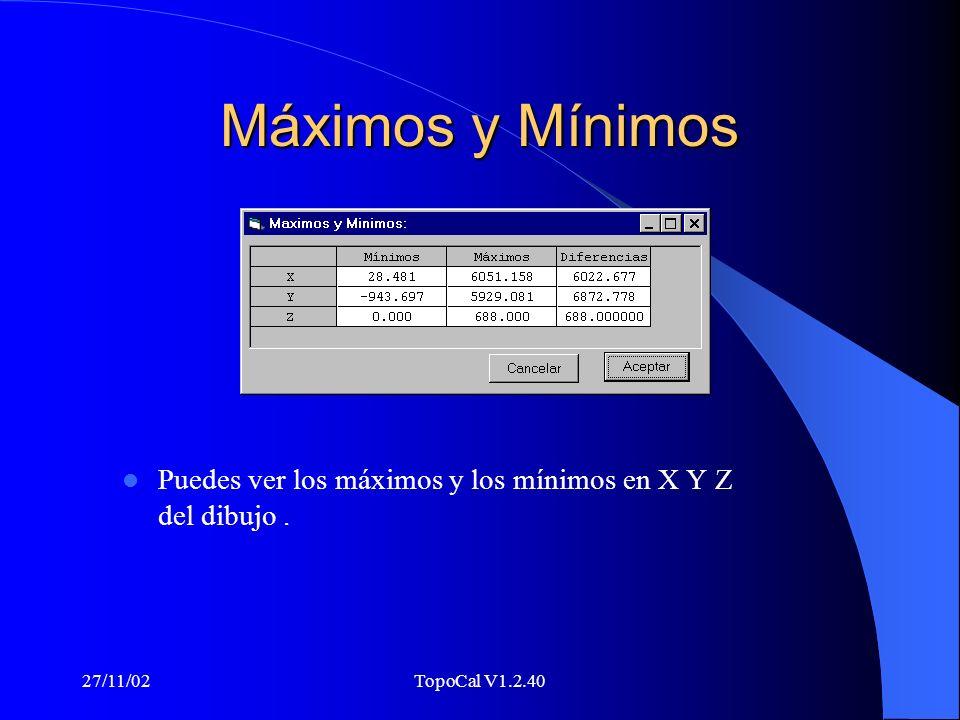 Máximos y Mínimos Puedes ver los máximos y los mínimos en X Y Z del dibujo .
