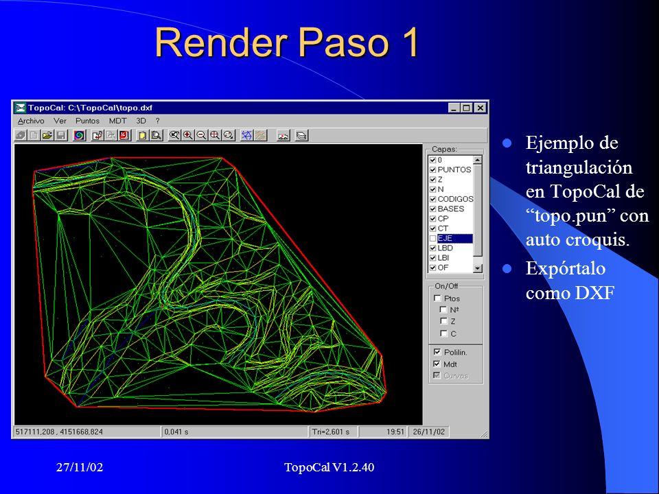 Render Paso 1 Ejemplo de triangulación en TopoCal de topo.pun con auto croquis. Expórtalo como DXF.