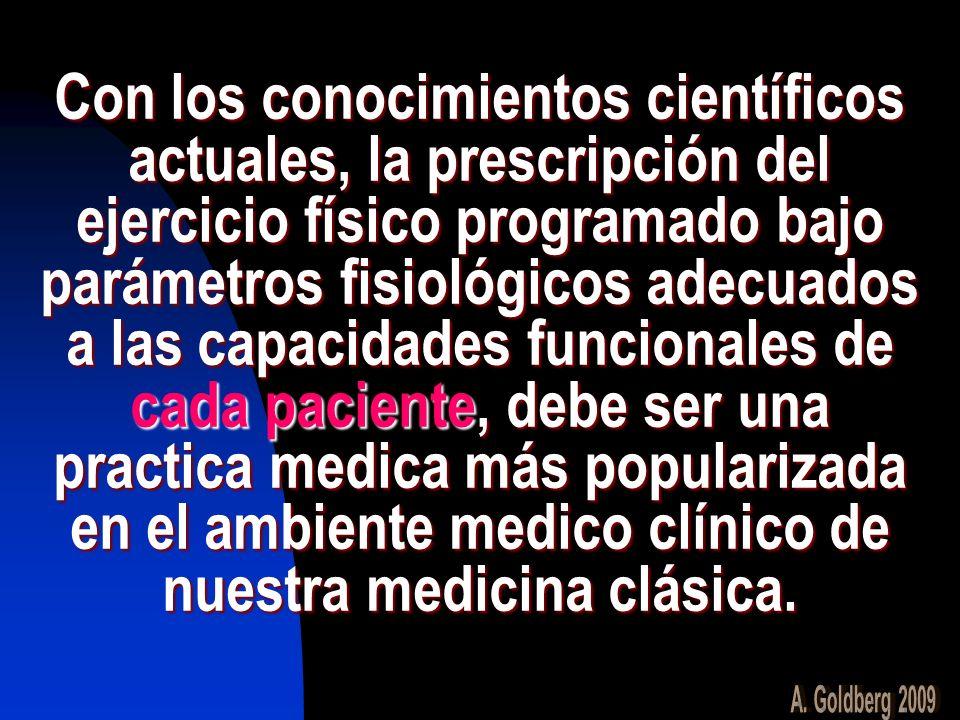 Con los conocimientos científicos actuales, la prescripción del ejercicio físico programado bajo parámetros fisiológicos adecuados a las capacidades funcionales de cada paciente, debe ser una practica medica más popularizada en el ambiente medico clínico de nuestra medicina clásica.