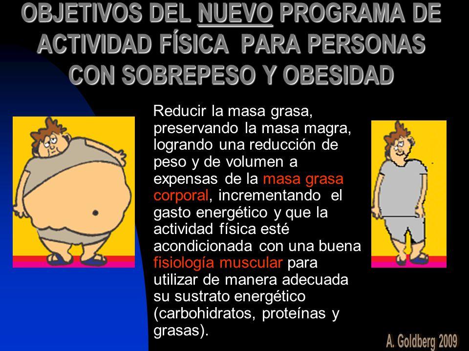 OBJETIVOS DEL NUEVO PROGRAMA DE ACTIVIDAD FÍSICA PARA PERSONAS CON SOBREPESO Y OBESIDAD