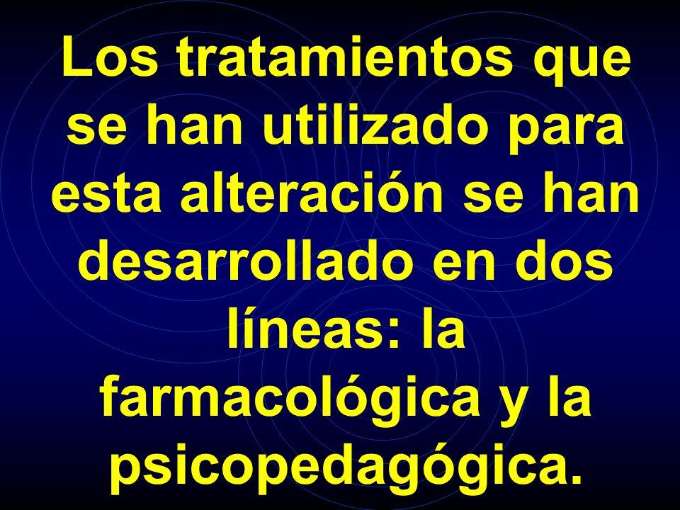Los tratamientos que se han utilizado para esta alteración se han desarrollado en dos líneas: la farmacológica y la psicopedagógica.