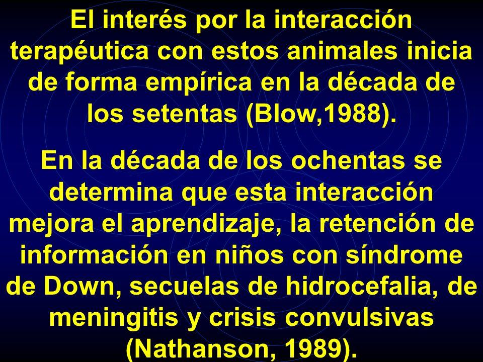 El interés por la interacción terapéutica con estos animales inicia de forma empírica en la década de los setentas (Blow,1988).